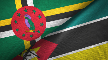 Dominica and Mozambique two flags textile cloth, fabric texture