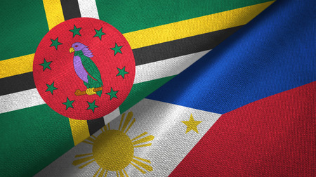 Dominica and Philippines two flags textile cloth, fabric texture
