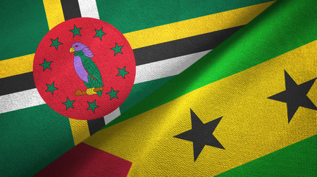 Dominica and Sao Tome and Principe two flags textile cloth, fabric texture