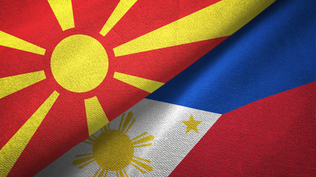 North Macedonia and Philippines two flags textile cloth, fabric texture