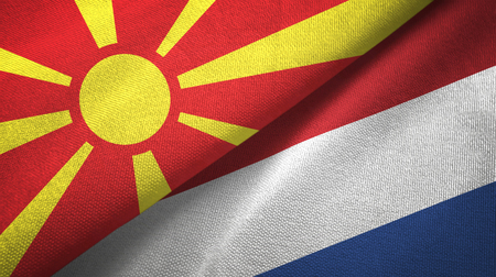 North Macedonia and Netherlands two flags textile cloth, fabric texture