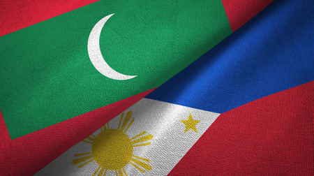 Maldives and Philippines two folded flags together Stock Photo