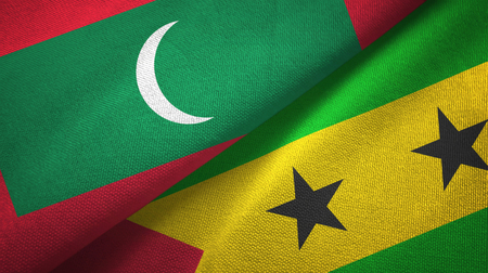 Maldives and Sao Tome and Principe two folded flags together