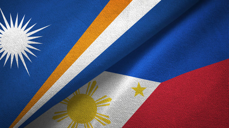 Marshall Islands and Philippines two folded flags together