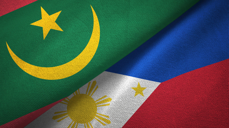 Mauritania and Philippines two folded flags together