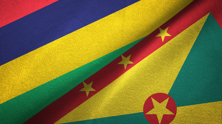 Mauritius and Grenada two flags textile cloth, fabric texture