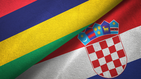 Mauritius and Croatia two flags textile cloth, fabric texture