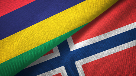 Mauritius and Norway flags together textile cloth, fabric texture
