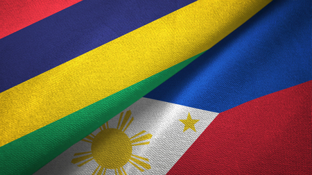Mauritius and Philippines two folded flags together