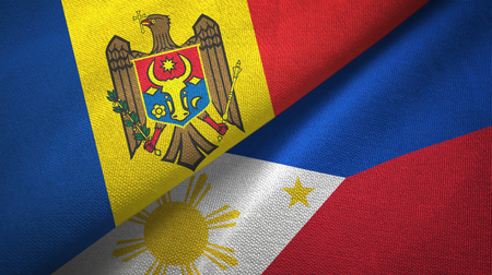 Moldova and Philippines two folded flags together