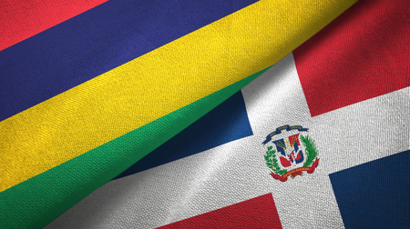 Mauritius and Dominican Republic two folded flags together Stock Photo