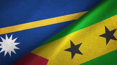 Nauru and Sao Tome and Principe two folded flags together