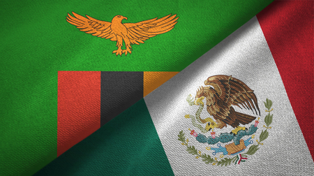 Zambia and Mexico flags together textile cloth, fabric texture