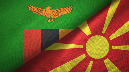 Zambia and North Macedonia flags together textile cloth, fabric texture Stock Photo