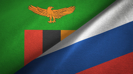 Zambia and Russia flags together textile cloth, fabric texture