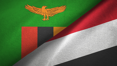 Zambia and Yemen two folded flags together Stock Photo