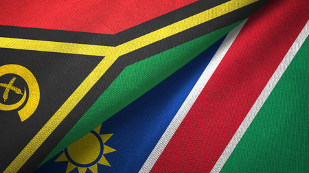 Vanuatu and Namibia two folded flags together