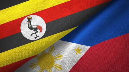 Uganda and Philippines two folded flags together