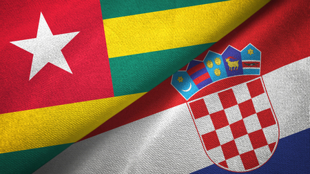 Togo and Croatia two flags textile cloth, fabric texture