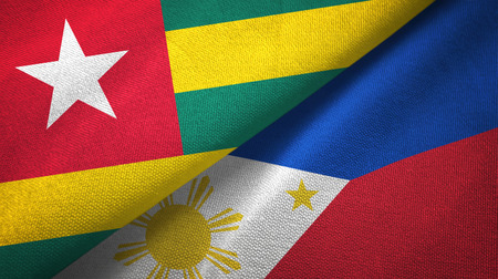 Togo and Philippines two flags textile cloth, fabric texture