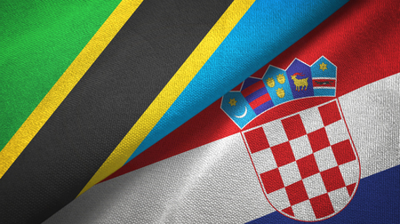 Tanzania and Croatia two flags textile cloth, fabric texture