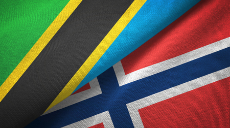 Tanzania and Norway two flags textile cloth, fabric texture Stock Photo