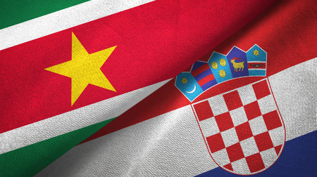 Suriname and Croatia two flags textile cloth, fabric texture