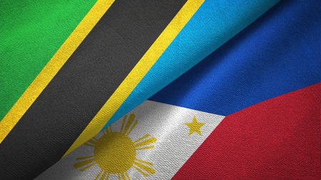 Tanzania and Philippines two flags textile cloth, fabric texture