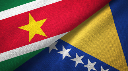 Suriname and Bosnia and Herzegovina two flags textile cloth, fabric texture