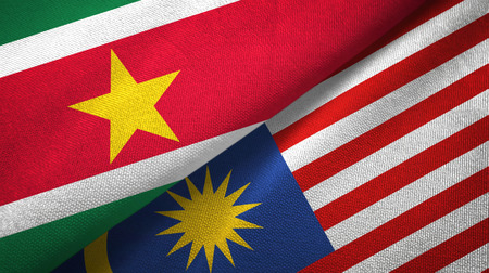 Suriname and Malaysia two flags textile cloth, fabric texture