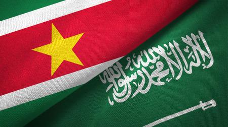 Suriname and Saudi Arabia flags textile cloth