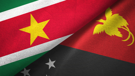 Suriname and Papua New Guinea two flags textile cloth, fabric texture