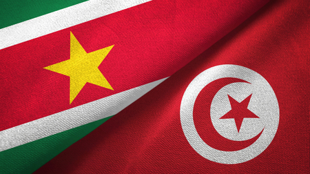 Suriname and Tunisia two flags textile cloth, fabric texture