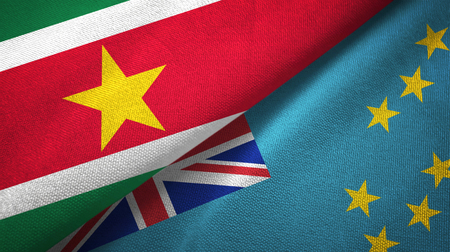 Suriname and Tuvalu two flags textile cloth, fabric texture Stockfoto