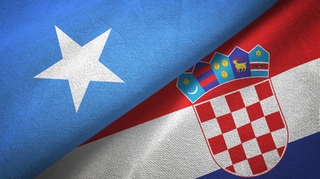 Somalia and Croatia two flags textile cloth, fabric texture