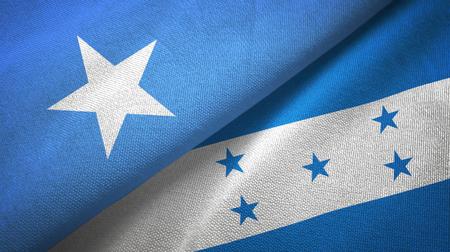 Somalia and Honduras two flags textile cloth, fabric texture
