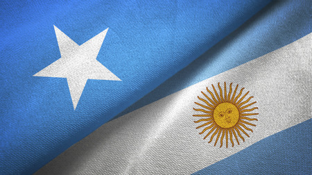 Somalia and Argentina two flags textile cloth, fabric texture