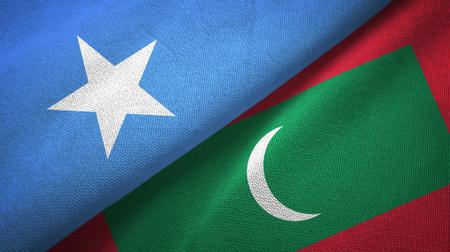 Somalia and Maldives two flags textile cloth, fabric texture
