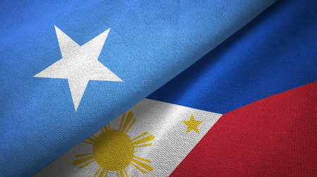 Somalia and Philippines two flags textile cloth, fabric texture