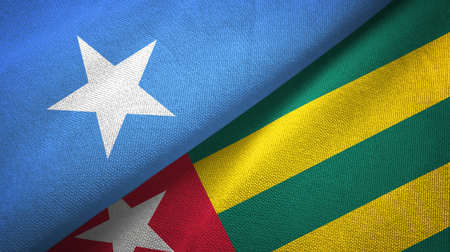 Somalia and Togo two flags textile cloth, fabric texture