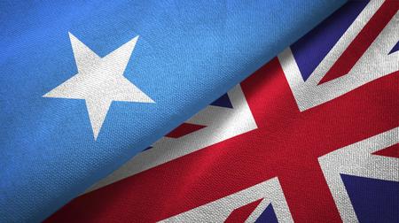 Somalia and United Kingdom two flags textile cloth, fabric texture