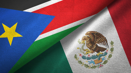 South Sudan and Mexico two flags textile cloth, fabric texture