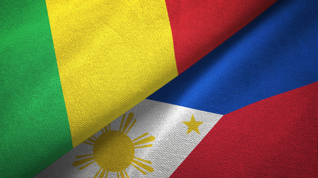 Mali and Philippines two folded flags together Stock Photo