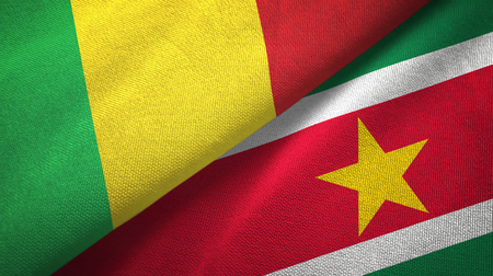Mali and Suriname two folded flags together