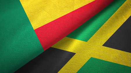 Benin and Jamaica flags together textile cloth, fabric texture Фото со стока