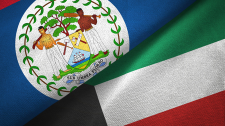 Belize and Kuwait flags together textile cloth, fabric texture