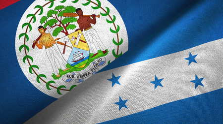 Belize and Honduras two folded flags together