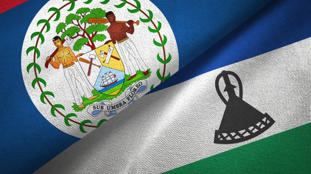Belize and Lesotho two folded flags together
