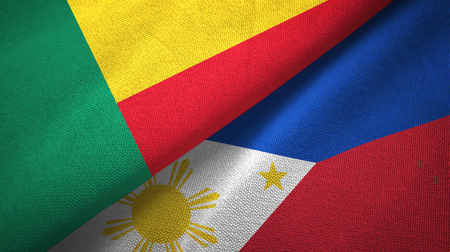 Benin and Philippines two folded flags together
