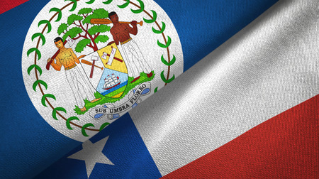 Belize and Chile flags together textile cloth, fabric texture Фото со стока